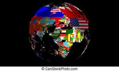 drapeaux, remplir, milieu, mat, inclut, &, globe tournant