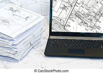 drawings., fonctionnement, ordinateur portable, projet, place., pile