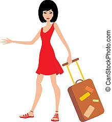 dres, femme, rouges, valise