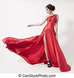 dress., beauté, jeune, arrière-plan., femme, blanc, battement des gouvernes, rouges