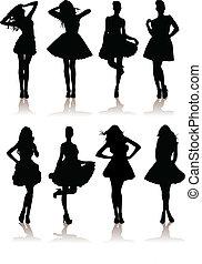dress., divers, modèle, illustration, ensemble, filles, vecteur, dame, beau