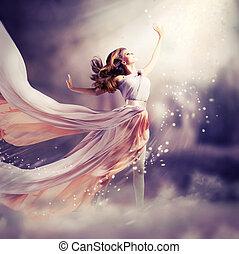 dress., girl, porter, chiffon, fantasme, scène, long, beau