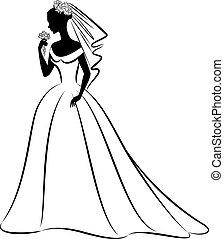 dress., mariée, beau