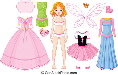 dresse, girl, différent, princesse