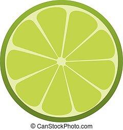 drink., citrus., rafraîchissant, vecteur, vert, icon., chaux, illustration.