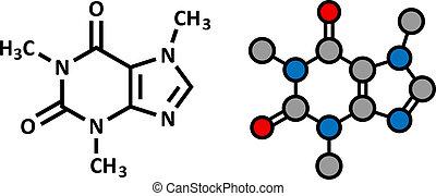 drinks., café, thé, énergie, molecule., caféine, présent, beaucoup, doux, stimulant