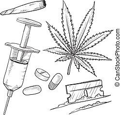 drogues, illégal, croquis, objets