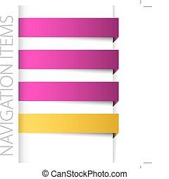 droit, barre, articles, moderne, violet, navigation