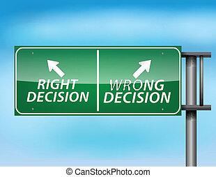 droit, décision, signe, mal, lustré, autoroute
