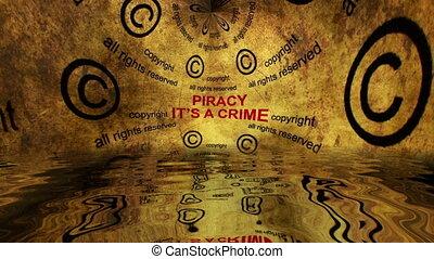 droit d'auteur, piraterie, grunge, concept, crime