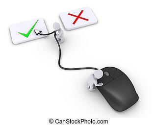 droit, deux, choix, personnes, utilisation, souris, sélectionner