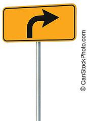 droit, devant, parcours, isolé, signe jaune, virage, perspective, route