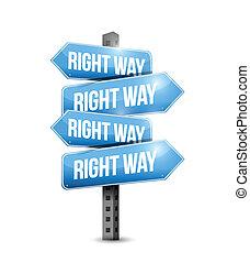 droit, illustration, signe, conception, manière, route