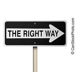 droit, -, isolé, signe, manière, route