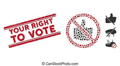 droit, ligne, mosaïque, non, timbre, vote, ton, textured, goûts, icône
