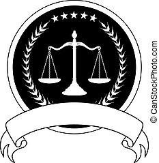 droit & loi, bannière, ou, avocat, cachet