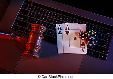 droit & loi, clavier, juge, bois, as, marteau, casino., ordinateur portable, ligne