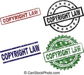 droit & loi, droit d'auteur, textured, timbres, cachet, endommagé