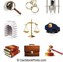 droit & loi, ensemble, légal, icônes