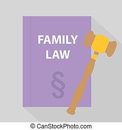 droit & loi, famille, icon-, illustration, tribunal, vecteur, marteau