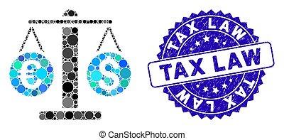 droit & loi, grunge, poids, icône, monnaie, impôt, mosaïque, cachet