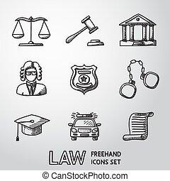droit & loi, icônes, justice, set., vecteur, freehand