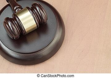droit & loi, justice, trial., juge, salle audience, bois, marteau, vide, maillet, espace, concept, bureau, text., pendant, judiciaire