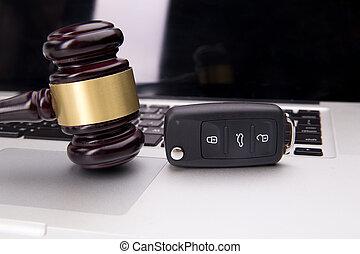 droit & loi, ordinateur portable, enchère, marteau, keyboard., symbole, justice, ligne, juge