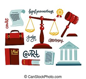 droit & loi, plat, dessiné, mesures, lettrage, jugement, main, set., juges, gavel., légal, regulations., juridique, illustration, tribunal, icônes, courthouse., portefeuille, vecteur, juridique, symboles