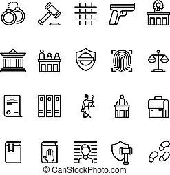 droit & loi, police, cour justice, icons., symboles, vecteur, ligne, juge, lawyer., ligne, criminel