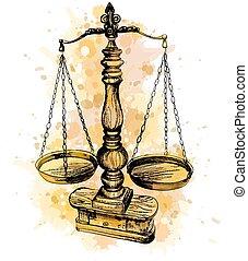 droit & loi, symbole, justice, vieux, vendange, échelle, dessiné, balances, aquarelle, éclaboussure, sketch., main