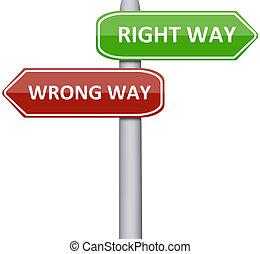 droit, manière fausse