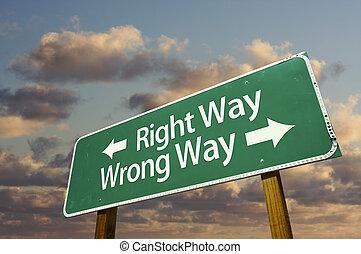 droit, signe, mal, vert, manière, route