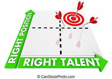 droit, talent, matrice, candidat, illustration, métier, loué, position, 3d