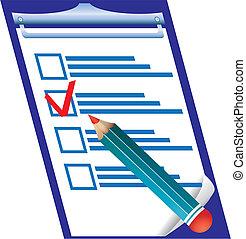 droit, vérification, illustration, vecteur, pensil, vide, réponse