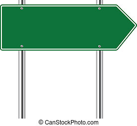 droit, vert, route, signe flèche