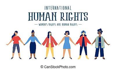 droits, divers, humain, international, carte, femmes