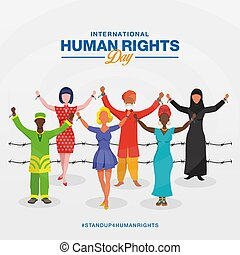 droits, freedom., symbole, jour, international, humain, différent, élévation, cassé, arrière-plan., mains, peuples, course, chaînes