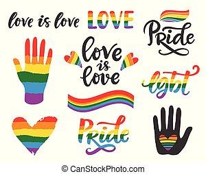 droits gais, écrit, lgbt, main, poster., concept, lettrage