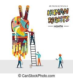 droits, gens, collaboration, humain, international, carte