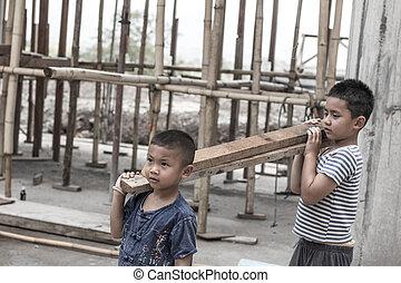 droits, jour, forcé, trafic, concept, 10., violence, anti-child, enfants, décembre, travail, construction., main-d'œuvre