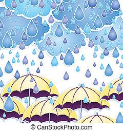 drops., vecteur, parapluie, pluie