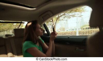 dubai, city., voiture, voyage, admirer, type, girl