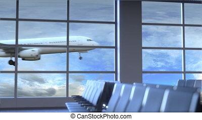 dubai, uni, commercial, atterrissage, arabe, animation, emirats, international, conceptuel, aéroport., avion, intro, voyager