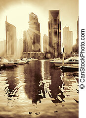 dubai, uni, contre, arabe, emirates., coucher soleil, luxe, marina, dubai