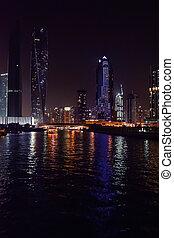 dubai, uni, gratte-ciel, 23, -, 2016:, arabe, avril, emirats, marina, uae, night., dubai