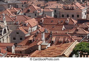 dubrovnik, toits, rouges