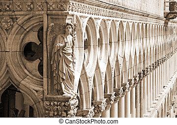 ducal, palais, (, sépia, -, venise, détail, )