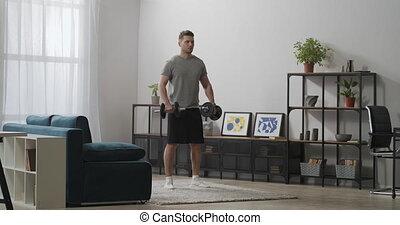 dumbbells, exercices, maison, beau, garder, biceps, crise, sain, formation, levage, homme, style de vie