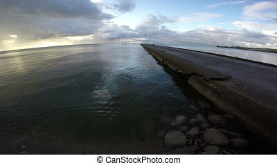dunes, ciment, matin, curonian, 4k, lagune, jetée, paysage